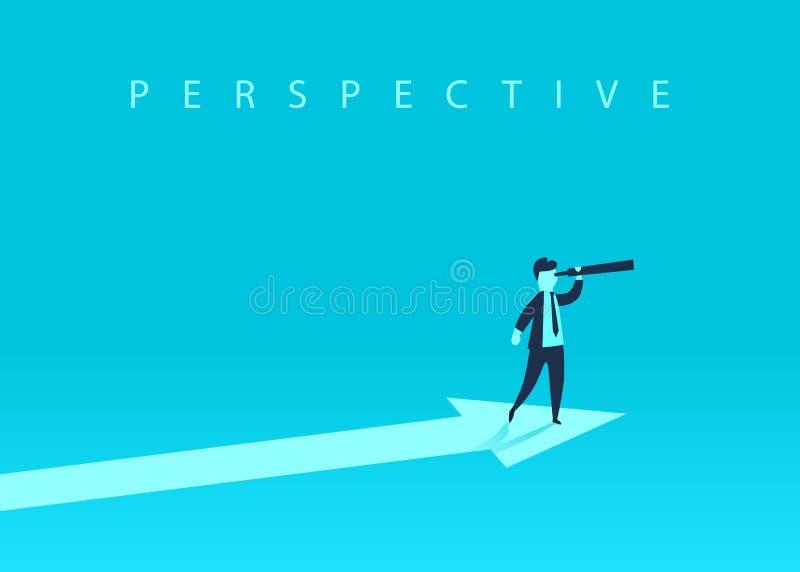 Концепция роста дела при верхняя стрелка и бизнесмен смотря вперед через телескоп Символ успеха, иллюстрация штока