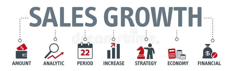 Концепция роста продаж знамени также вектор иллюстрации притяжки corel иллюстрация вектора