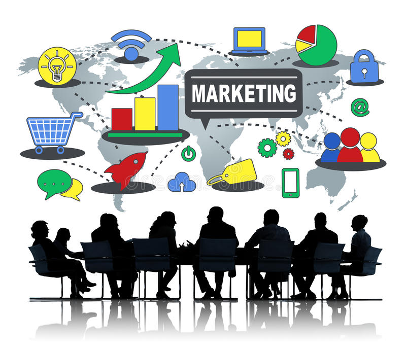 Концепция роста соединения глобального бизнеса маркетинга клеймя стоковое фото rf