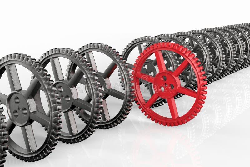Концепция руководства с красными шестернями шестерни и металла стоковая фотография