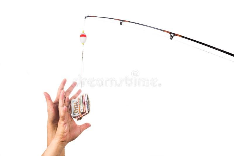 Концепция рук достигая для денег casted как приманка на li рыбной ловли стоковое изображение rf