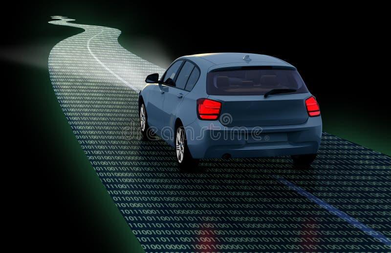 Концепция само-управляя автомобиля иллюстрация вектора