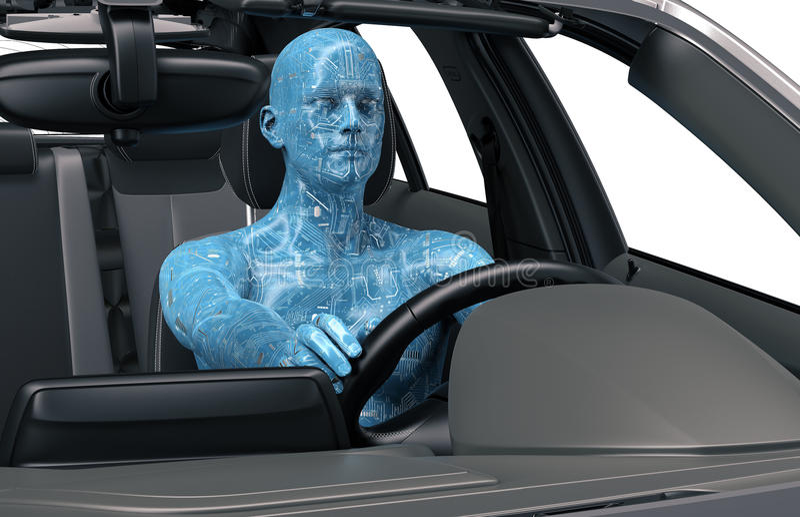 Концепция само-управляя автомобиля иллюстрация штока