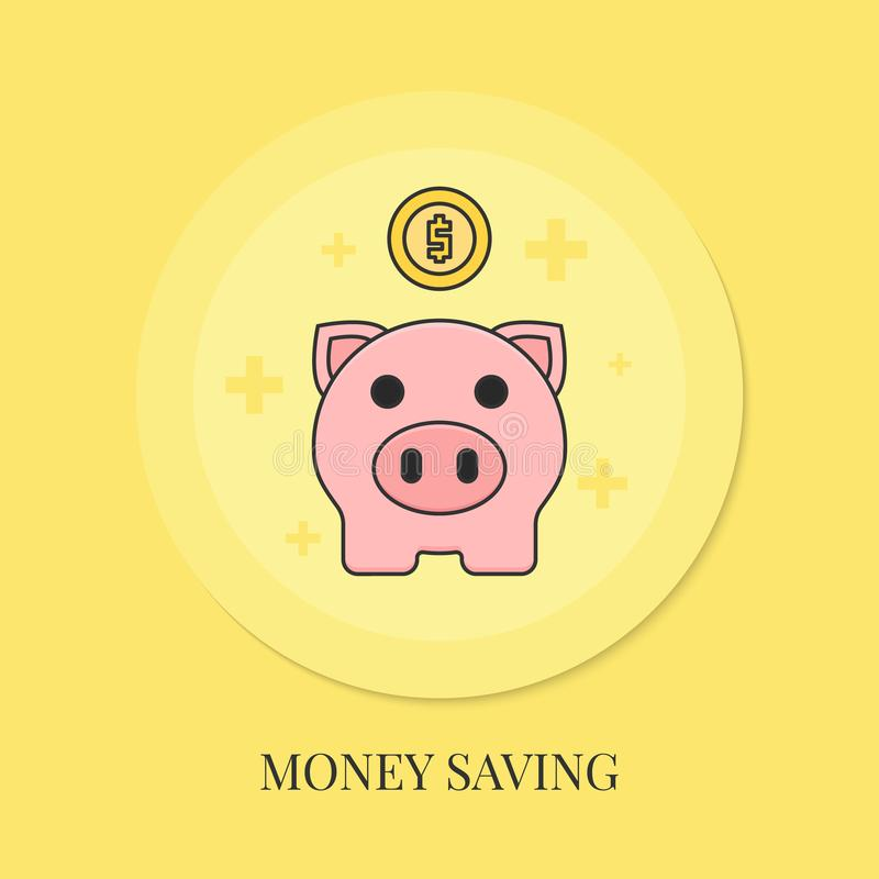 Концепция сбережений денег с копилкой иллюстрация вектора