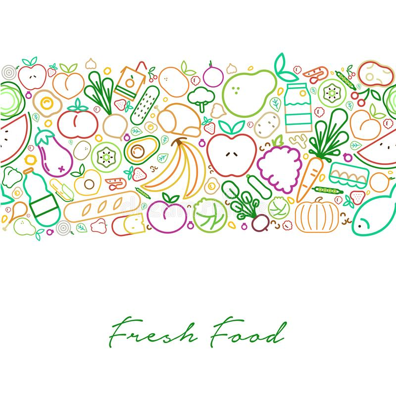 Концепция свежих продуктов с органической линией меню значков иллюстрация вектора