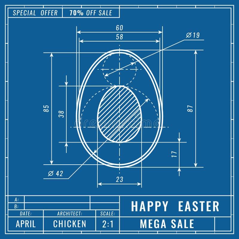 Концепция светокопий пасхального яйца Технические чертежи машиностроения конструкция техническая Знамя пасхи, крышка, плакат, лет бесплатная иллюстрация
