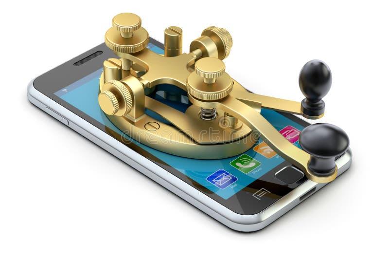 Концепция связи с прибором телеграфирования азбуки Морзе на мобильном телефоне иллюстрация вектора