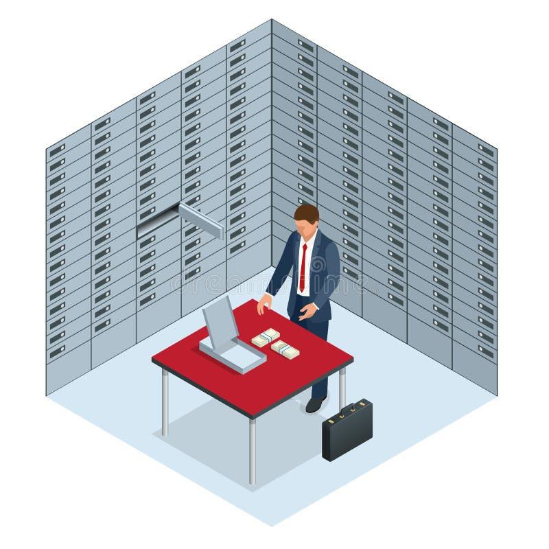 Концепция сейфов и безопасности человек раскрыла его клетку банка и рассматривает деньги открытым сейфом с бесплатная иллюстрация