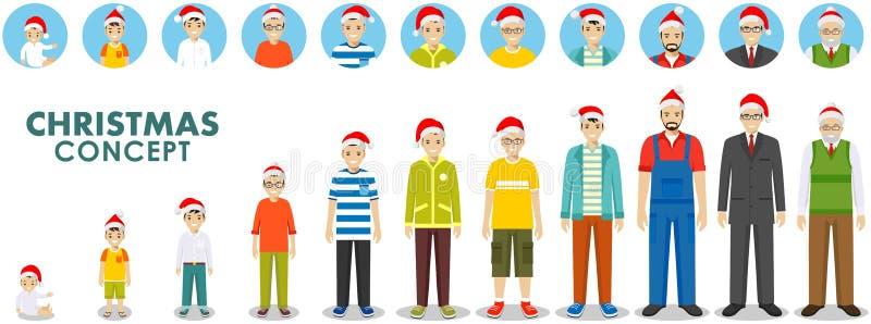 Концепция семьи рождества и Нового Года Поколения людей на различных временах в шляпе Санта Клауса Вызревание человека: младенец иллюстрация штока