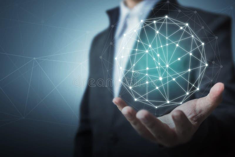 Концепция сетевого подключения круга дела глобальная стоковые изображения