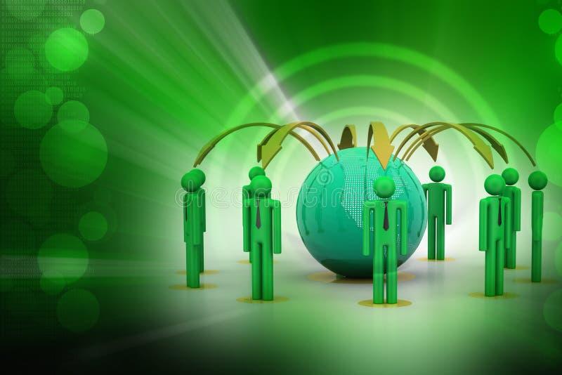 Концепция сети глобального бизнеса иллюстрация вектора
