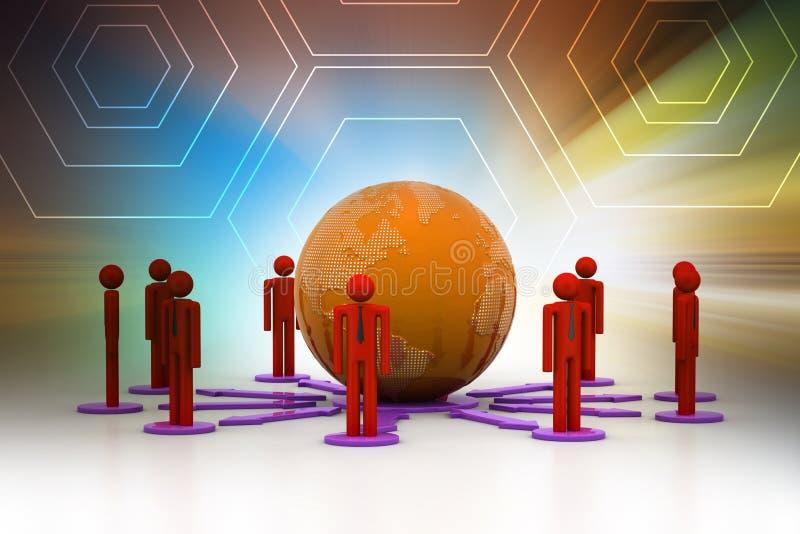 Концепция сети глобального бизнеса бесплатная иллюстрация