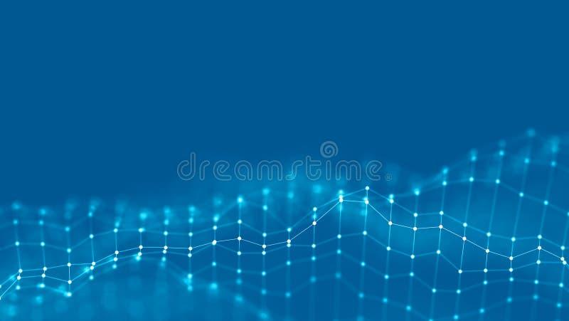 концепция сети предпосылки конспекта 3d Будущая иллюстрация технологии предпосылки ландшафт 3d Большие данные Wireframe стоковые фото