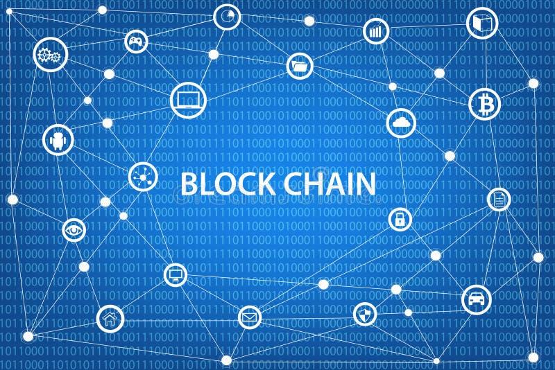 Концепция сети Blockchain иллюстрация вектора