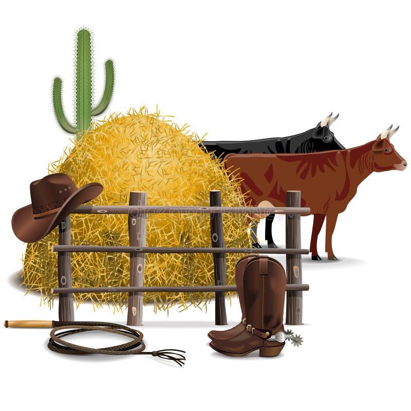Концепция сельского хозяйства ковбоя вектора иллюстрация штока