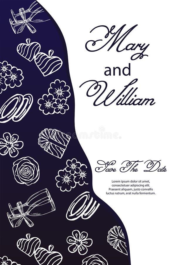 Концепция сини военно-морского флота свадьбы r карта с рамкой чертежей цветков, колец, подарка, колец, стекел, сердец иллюстрация вектора