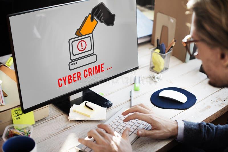 Концепция системы безопасности хакера очковтирательства злодеяния кибер атаки стоковое изображение