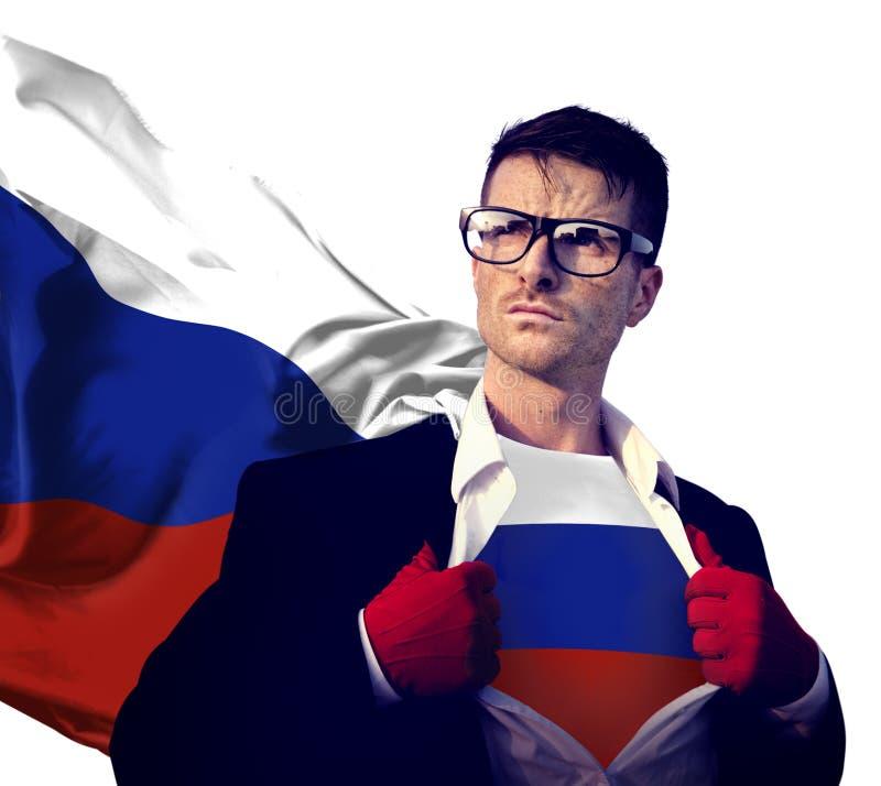 Концепция силы культуры флага России страны супергероя бизнесмена стоковая фотография