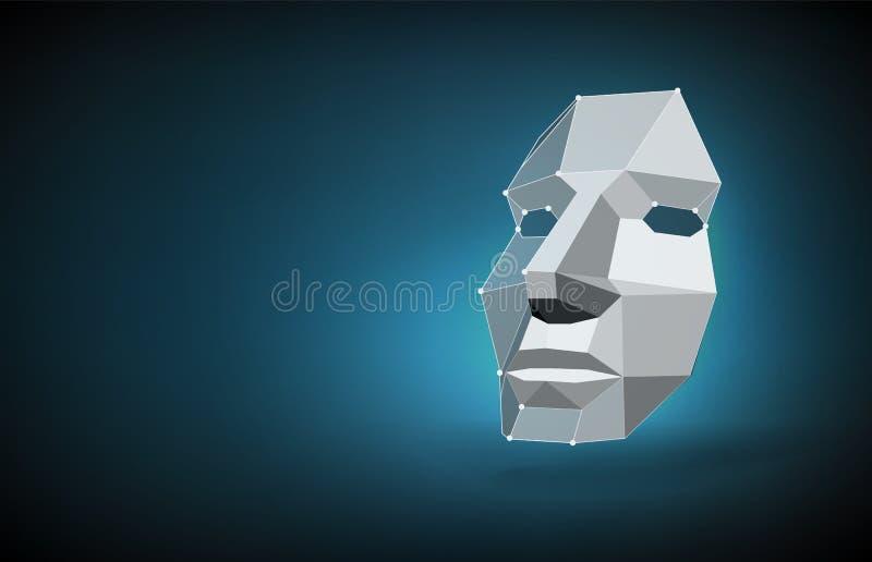 Концепция сканирования стороны Концепция обнаружения стороны путем просматривать выдвижение технологии, человеческую голову бесплатная иллюстрация