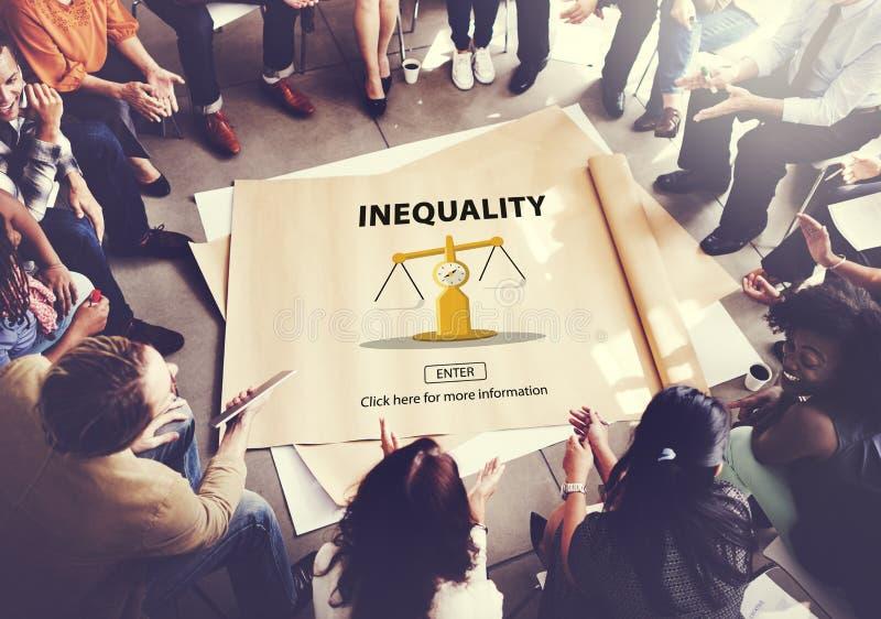 Концепция смещения предубежденности жертв разницы неравенства стоковая фотография