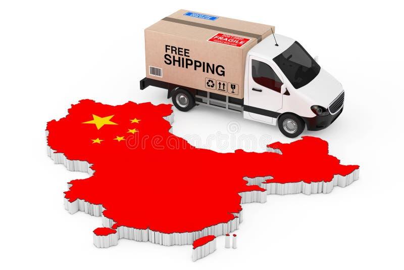 Концепция снабжения Китая Белый коммерчески промышленный груз Deliv иллюстрация вектора