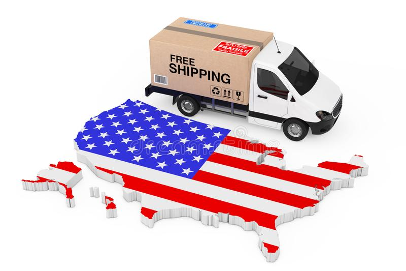 Концепция снабжения США Белый коммерчески промышленный груз поставляет иллюстрация штока