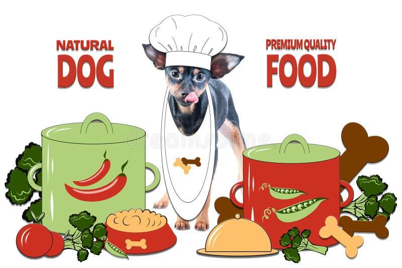 Концепция собачьей еды, здоровый корм для домашних животных Сваренный с любовью Фото и иллюстрация, стиль мультфильма иллюстрация штока