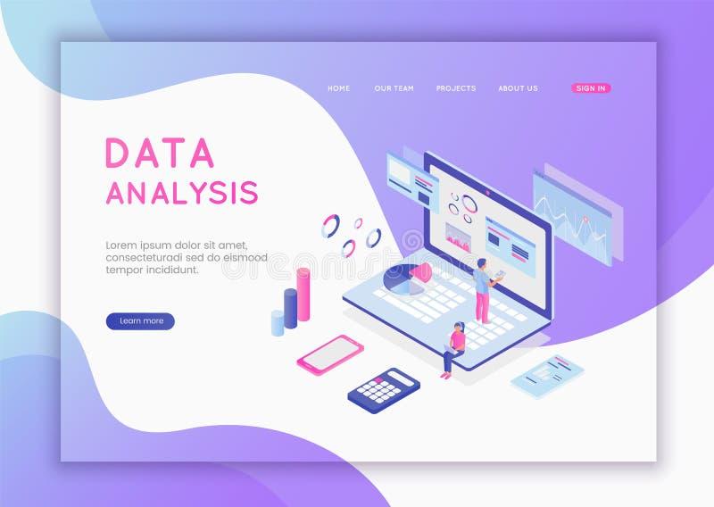Концепция современного плоского дизайна равновеликая анализа данных для вебсайта и мобильного вебсайта Анализ данных, и офис иллюстрация штока