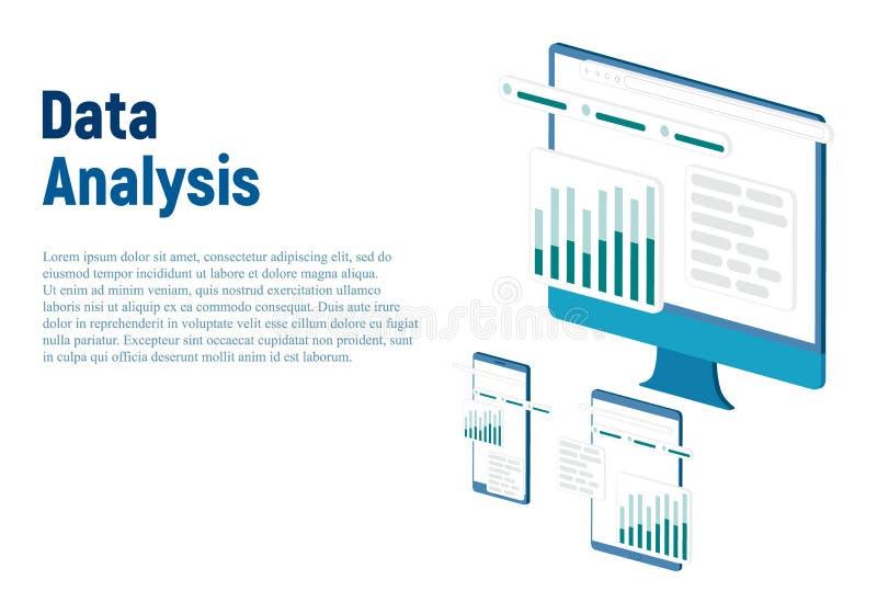 Концепция современного плоского дизайна равновеликая анализа данных для вебсайта и мобильного вебсайта r Легкий для редактировани иллюстрация вектора