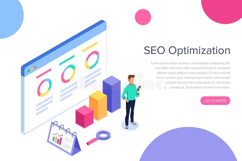 Концепция современного плоского дизайна равновеликая анализа SEO для знамени и вебсайта Оптимизирование поисковой системы, страте иллюстрация штока