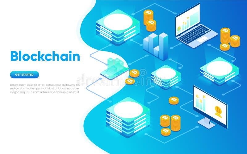 Концепция современного плоского дизайна Blockchain равновеликая Концепция Cryptocurrency Шаблон страницы посадки Схематическое ра бесплатная иллюстрация