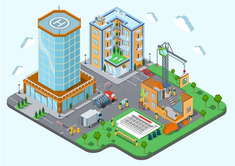 Концепция современное ультрамодное плоское 3d города места конструкции равновеликая иллюстрация вектора