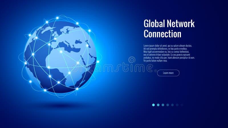Концепция соединения глобальной вычислительной сети Самый лучший интернет, глобальный бизнес Пункт карты мира и линия вектор сост иллюстрация штока