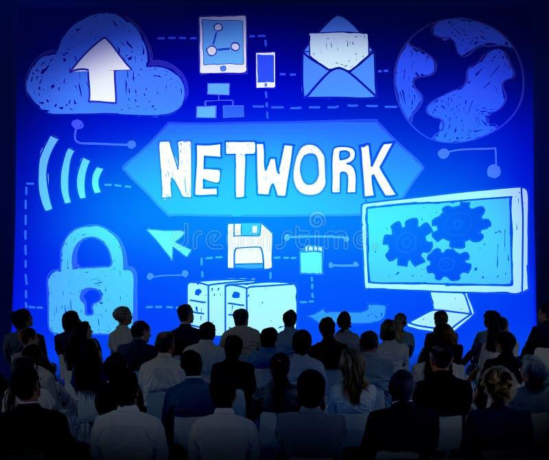 Концепция соединения компьютерной системы сети стоковое изображение rf