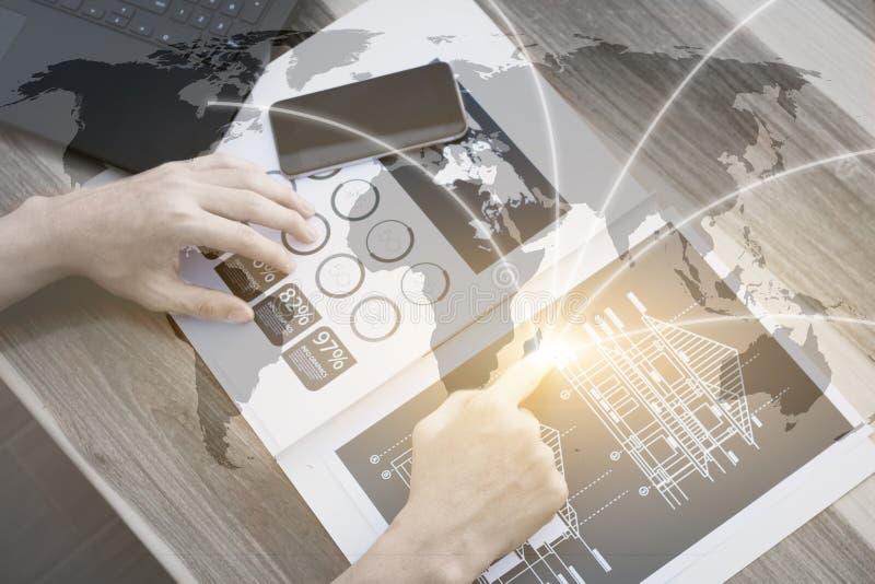 Концепция соединения технологии глобализации дела, pe дела стоковые изображения rf