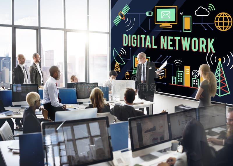 Концепция соединения технологии сети цифров онлайн стоковые фотографии rf
