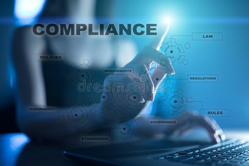 Концепция соответствия на виртуальном экране Политика, правила, регулировка закона иллюстрация штока