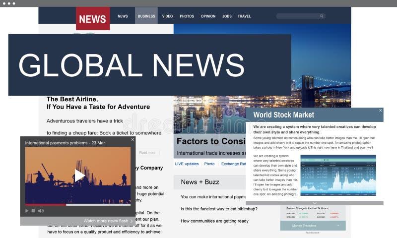 Концепция содержания новостей публицистики средств массовой информации глобальная ежедневная иллюстрация вектора