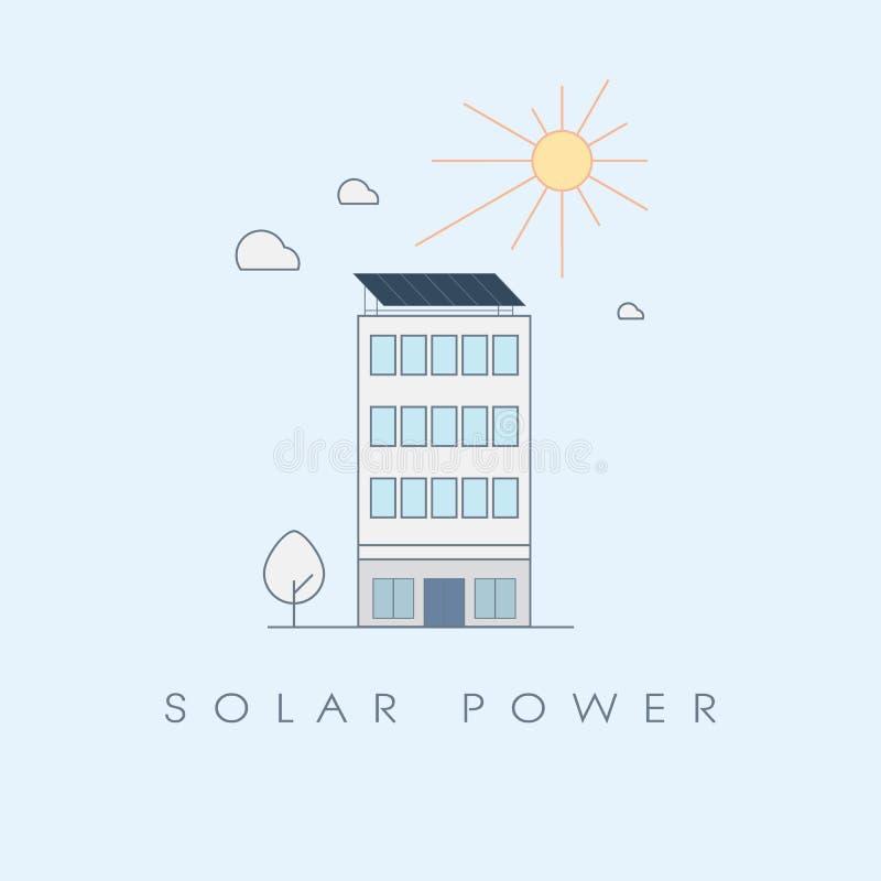Концепция солнечной энергии для офисных зданий Экологический устойчивый символ способный к возрождению энергетических технологий иллюстрация штока
