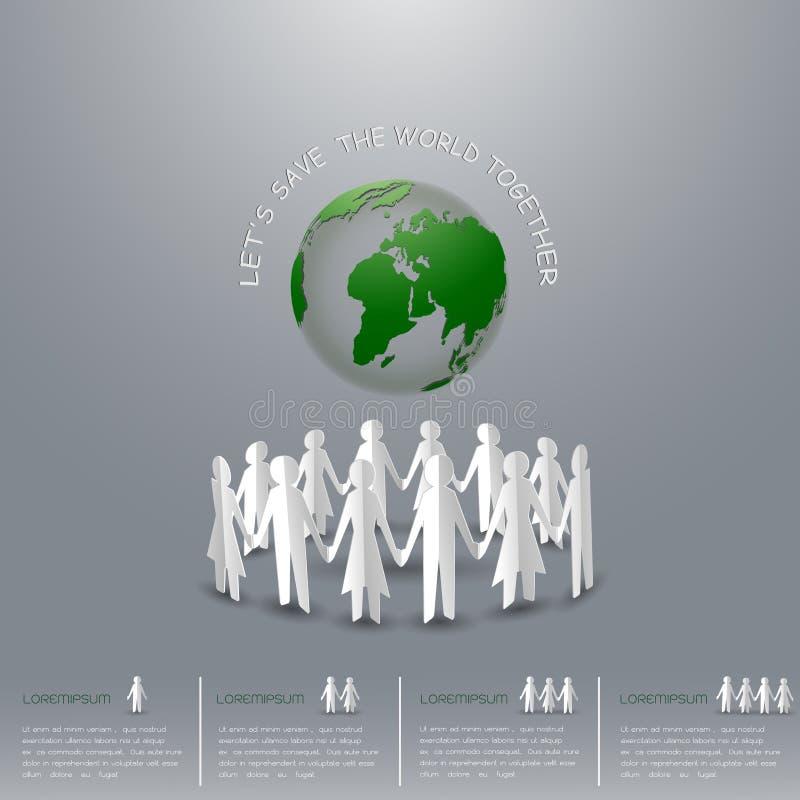 Концепция спасения земля, человек и женщины держа руки по всему миру иллюстрация вектора