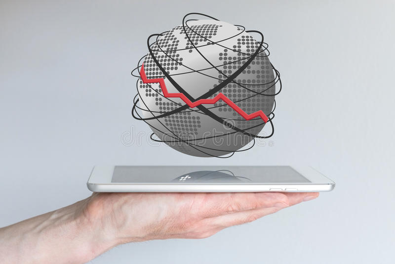 Концепция спада в пределах передвижной вычислять Застенчивые продажи, e g для умных телефонов, таблеток или других мобильных устр стоковая фотография