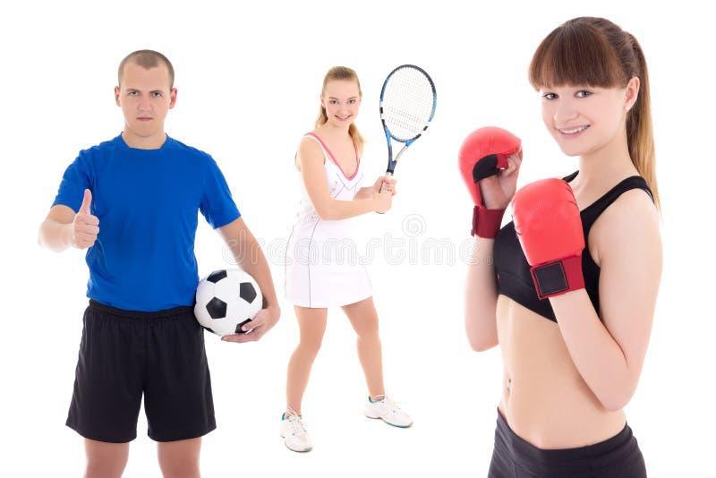 Концепция спорта - футболист, женский теннисист и женщина внутри стоковые фотографии rf