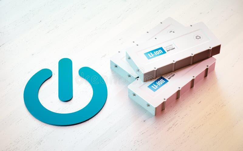 Концепция старта батареи электротранспорта Li-иона бесплатная иллюстрация