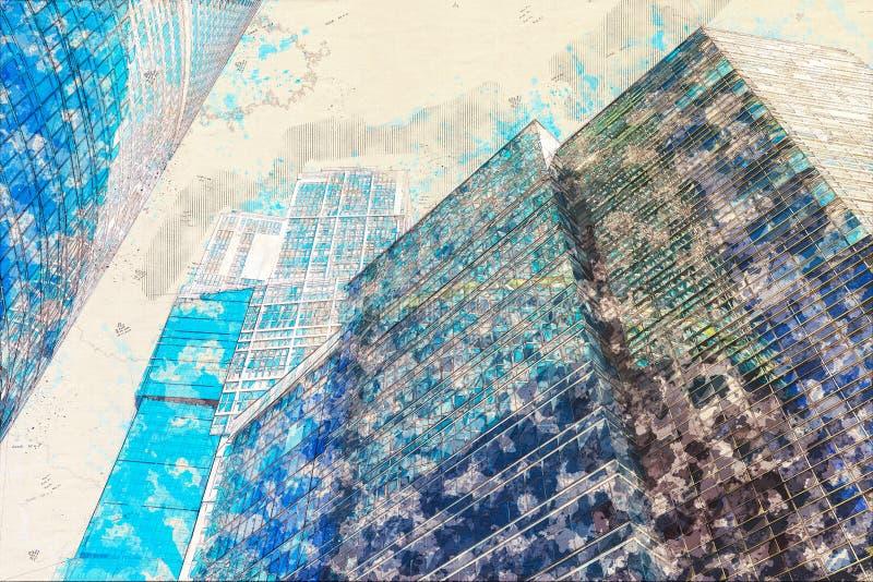 Концепция, стекло офисных зданий фасада небоскреба эскиза современное стоковые фотографии rf