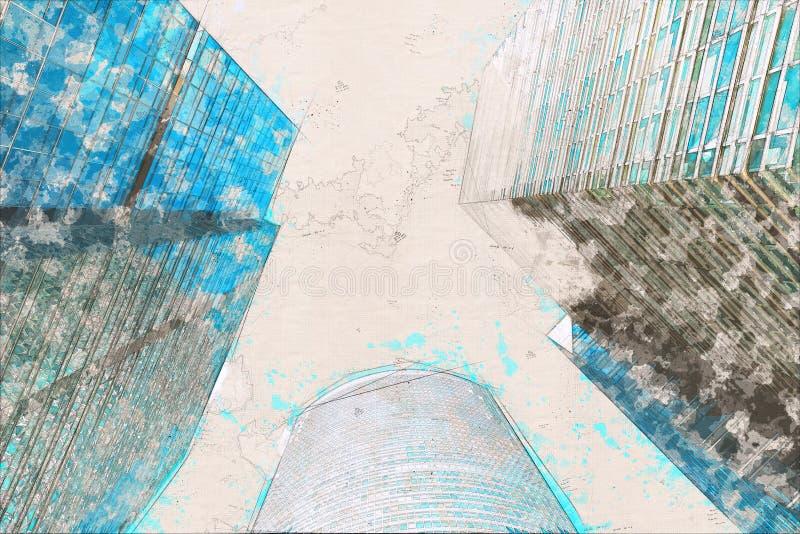 Концепция, стекло офисных зданий фасада небоскреба эскиза современное стоковое фото rf