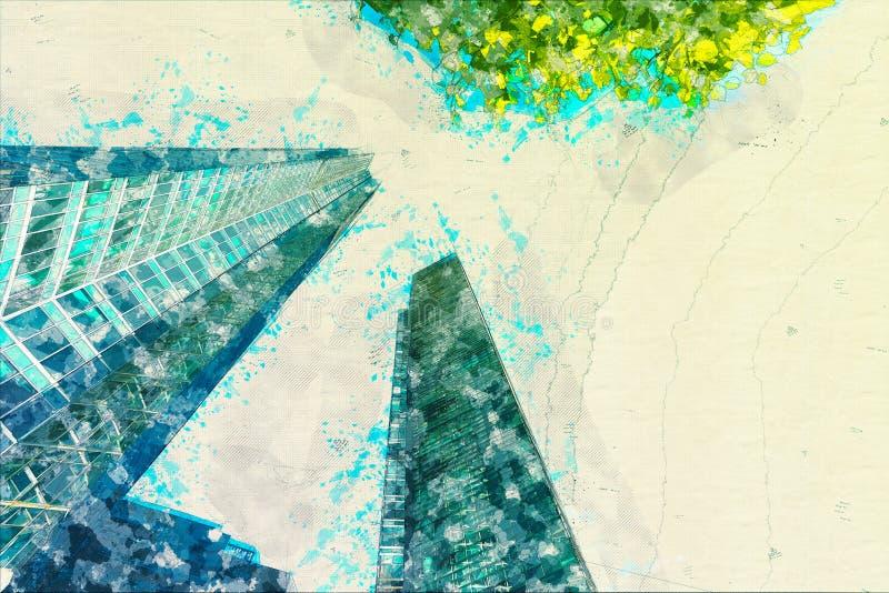 Концепция, стекло офисных зданий фасада небоскреба эскиза современное стоковая фотография