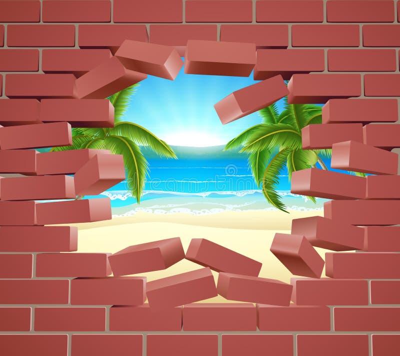 Концепция стены пляжа бесплатная иллюстрация