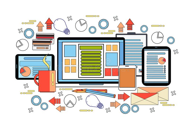 Концепция стола рабочего места, настольный компьютер работы дела с портативным компьютером, диаграммы и документы на таблетках ци иллюстрация штока