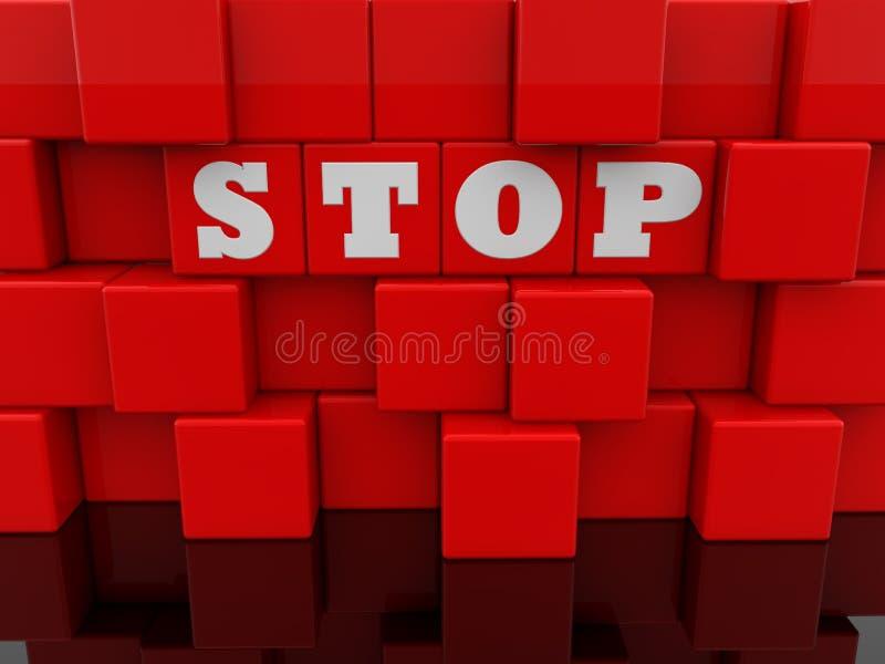 Концепция стопа на абстрактной стене красных кубов игрушки бесплатная иллюстрация