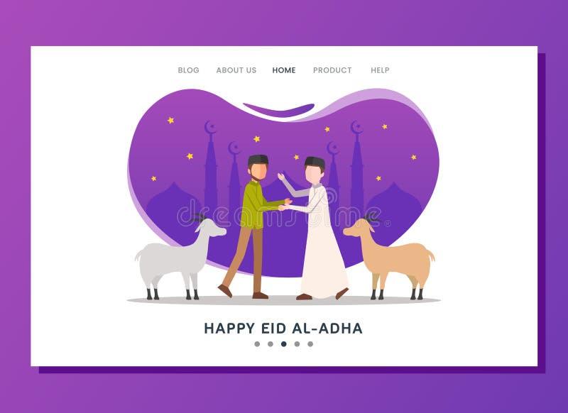 Концепция страницы Adha al Eid приземляясь стоковое фото